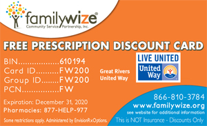 FamilyWize perscription drug card - Great Rivers United Way